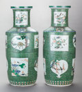 Asian:Chinese, A PAIR OF CHINESE FAMILLE VERTE PORCELAIN VASES. Marks: (chop marks). 26 inches high x 10-1/2 inches wide (66.0 x 26.7 cm). ... (Total: 2 Items)