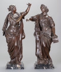 Bronze:European, TWO CONTINENTAL NEOCLASSICAL-STYLE PATINATED BRONZE FIGURES OF WOMEN, EMBLEMATIC OF THE ARTS, early 20th century. 22-1/2 inc... (Total: 2 Items)