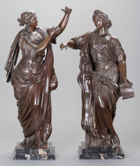 TWO CONTINENTAL NEOCLASSICAL-STYLE PATINATED BRONZE FIGURES OF WOMEN, EMBLEMATIC OF THE ARTS, early 20th century 2
