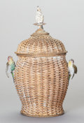 Bronze:European, AN AUSTRIAN COLD PAINTED GILDED AND WOVEN BRONZE COVERED URN, circa1900. 15 x 10-1/2 x 7-1/2 inches (38.1 x 26.7 x 19.1 cm)...