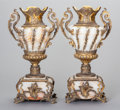 Decorative Arts, French:Other , A PAIR OF CONTINENTAL ALABASTER AND GILT BRONZE MOUNTED URNS, circa1900. 17-1/2 x 7-1/2 x 5-1/2 inches (44.5 x 19.1 x 14.0 ... (Total:2 Items)