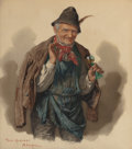 Works on Paper, PETER KRAEMER THE YOUNGER (German, 1857-1936). Portraits of German Peasants (pair). Watercolor and pencil with white hig... (Total: 2 Items)
