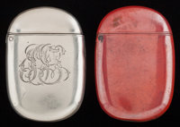 TWO BLACKINTON SILVER, COPPER, AND ENAMEL MATCH SAFES, North Attleboro, Massachusetts, circa 1900 Marks to both: B (wi...