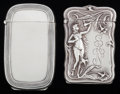 Silver Smalls:Match Safes, TWO AMERICAN SILVER AND SILVER GILT HIDDEN PHOTO MATCH SAFES,Battin & Co., Newark, New Jersey, circa 1896. Marks:(trident)... (Total: 2 Items)