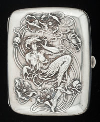AN AMERICAN SILVER AND SILVER GILT CIGARETTE CASE, Wm. B. Kerr & Co, Newark, New Jersey, circa 1900 Marks: (fasc...