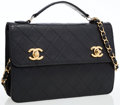 Luxury Accessories:Bags, Chanel Black Quilted Lambskin Leather Dual Turnlock Bag. ...