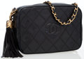 Luxury Accessories:Bags, Chanel Black Quilted Lambskin Leather Cross Body Bag with Tassel....