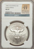 Modern Issues, 1996-D $1 Olympic/Paralympics Silver Dollar MS69 NGC. Rank #77 ofthe 100 Greatest U.S. Modern Coins; 1st Edition. NGC Cens...