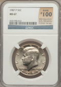 Kennedy Half Dollars, 1987-P 50C MS67 NGC. Rank #100 of the 100 Greatest U.S. ModernCoins; 1st Edition. NGC Census: (62/0). PCGS Population (82/...