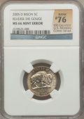 Errors, 2005-D 5C Jefferson Nickels, Bison -- Reverse Die Gouge -- MS66 NGC. Rank #76 of the 100 Greatest U.S. Modern Coins; 1st Ed...