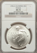 Modern Issues: , 1996-D $1 Olympic/Tennis Silver Dollar MS70 NGC. NGC Census: (83).PCGS Population (138). Numismedia Wsl. Price for proble...