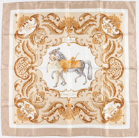 "Hermes Gold & Cream ""Cheval Turc"" by Christiane Vauzelles Silk Scarf"