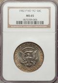 Kennedy Half Dollars: , 1982-P 50C No FG MS65 NGC. NGC Census: (77/43). PCGS Population(338/201). Mintage: 10,819,000. Numismedia Wsl. Price for p...