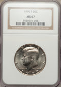 Kennedy Half Dollars: , 1990-P 50C MS67 NGC. NGC Census: (39/2). PCGS Population (37/0).Mintage: 22,278,000. Numismedia Wsl. Price for problem fre...
