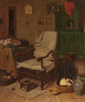 Fine Art - Painting, European:Antique  (Pre 1900), FERDINAND THEODOR DOSE (German, 1818-1851). Home Interior withKnitting Chair and Sleeping Cat, 1848. Oil on canvas. 18-...