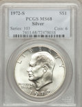 Eisenhower Dollars: , 1972-S $1 Silver MS68 PCGS. PCGS Population (1543/16). NGC Census: (399/5). Mintage: 2,193,056. Numismedia Wsl. Price for p...