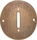Arms Accessories, Bronze Colt Gatling Gun Plate from 1883 Model Colt Gatling Gun....