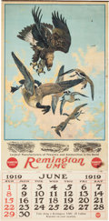 Advertising:Signs, Remington UMC 1919 June Calendar Illustrated by Lynn Bogue Hunt....