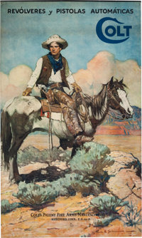 """Colt Firearms """"Tex & Patches"""" Advertising Poster, by Illustrator Frank E. Schoonover"""