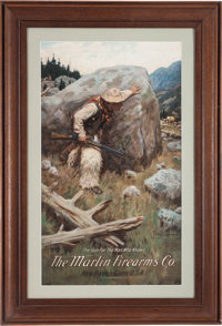 """The Marlin Firearms Co. Lithographed Advertising Sign, Titled """" The Gun For The Man Who Knows"""""""