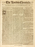 Miscellaneous:Newspaper, [Newspaper]. The London Chronicle. 1772. Eight integralleaves, disbound. Page 492 has an ink tax stamp to the botto...