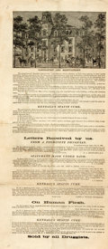 Miscellaneous:Broadside, [Americana, Broadside]. Broadside Advertising Kendall's SpavinCure. N.d., ca. 1870s. Printed on recto and verso. Re...