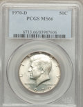 Kennedy Half Dollars: , 1970-D 50C MS66 PCGS. PCGS Population (418/11). NGC Census:(119/5). Mintage: 2,150,000. Numismedia Wsl. Price for problem ...