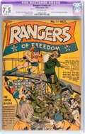 Golden Age (1938-1955):War, Rangers Comics #1 (Fiction House, 1941) CGC Apparent VF- 7.5 Slight(A) Off-white pages....