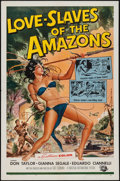 "Movie Posters:Adventure, Love Slaves of the Amazons (Universal International, 1957). OneSheet (27"" X 41"") & Lobby Cards (8) (11"" X 14""). Adventure....(Total: 9 Items)"