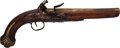 Handguns:Muzzle loading, London Flintlock Pistol With Brass Barrel....