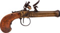Handguns:Derringer, Palm, 18th Century Belgian Tap Action Flintlock Muff Pistol....