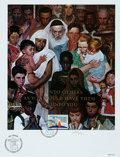 Books:Prints & Leaves, Norman Rockwell. LIMITED Cache Print to Accompany a United NationsStamp Issue. 1989. Number 1081/2500. Measures roughly...