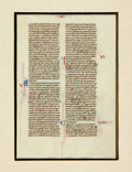 Books:Prints & Leaves, [Manuscript Leaf on Vellum]. Early Manuscript Leaf from an ItalianBible, circa 1240. Printed on recto and verso, with hand-...