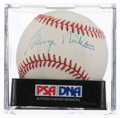 Autographs:Baseballs, George Mikan Single Signed Baseball PSA NM- MT 8....