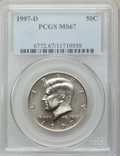 Kennedy Half Dollars: , 1997-D 50C MS67 PCGS. PCGS Population (57/4). NGC Census: (47/5).Mintage: 19,876,000. Numismedia Wsl. Price for problem fr...