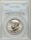 Kennedy Half Dollars: , 1989-P 50C MS67 PCGS. PCGS Population (49/0). NGC Census: (57/0).Mintage: 24,542,000. Numismedia Wsl. Price for problem fr...