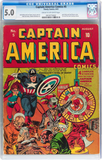 Captain America Comics #5 (Timely, 1941) CGC VG/FN 5.0 Cream to off-white pages
