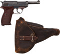 Handguns:Semiautomatic Pistol, German Walther P38 Semi-Automatic Pistol with Leather Holster....