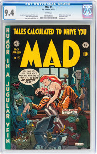 Mad #5 (EC, 1953) CGC NM 9.4 White pages