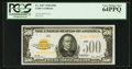 Small Size:Gold Certificates, Fr. 2407 $500 1928 Gold Certificate. PCGS Very Choice New 64PPQ.. ...