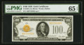 Small Size:Gold Certificates, Fr. 2405 $100 1928 Gold Certificate. PMG Gem Uncirculated 65 EPQ.....