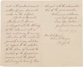 Autographs:U.S. Presidents, Grover Cleveland Letter of Condolence to Ulysses S. Grant's Widowon the Day of his Death Signed....