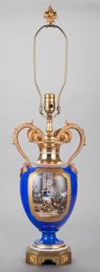 Ceramics & Porcelain, Continental:Modern  (1900 1949)  , A GERMAN PORCELAIN AND GILT BRONZE MOUNTED URN WITH FIGURAL SNAKE HANDLES MOUNTED AS A LAMP, circa 1920. 21 inches high (53....