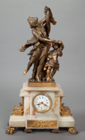 Paintings, A CONTINENTAL PATINATED BRONZE AND ALABASTER CLOCK, 20th century. 28 x 8 x 8 inches (71.1 x 20.3 x 20.3 cm). ...