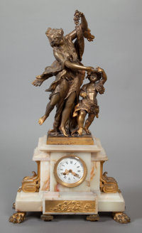 A CONTINENTAL PATINATED BRONZE AND ALABASTER CLOCK, 20th century 28 x 8 x 8 inches (71.1 x 20.3 x 20.3 cm)