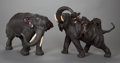 Asian:Japanese, A PAIR OF JAPANESE PATINATED BRONZE ELEPHANTS, Meiji Period. 22-1/2x 24-1/2 x 14 inches (57.2 x 62.2 x 35.6 cm). ... (Total: 2 Items)