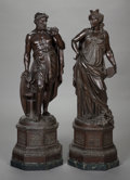 Paintings, A PAIR OF NEOCLASSICAL-STYLE PATINATED METAL FIGURES, circa 1880. 29 inches high (73.7 cm) (overall). ... (Total: 2 Items)