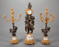 Decorative Arts, French, A THREE-PIECE LOUIS XVI-STYLE PATINATED AND GILT BRONZE CLOCKGARNITURE, After Albert Ernest Carrier-Belleuse, (French, 1824...(Total: 3 Items)