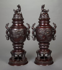 A PAIR OF JAPANESE PATINATED BRONZE CENSERS ON STANDS 24 inches high (61.0 cm)