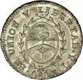 Argentina: Rio de la Plata. 1/2 Real 1813J-PTS, KM1.1, MS62 NGC, sharply struck example with delightful multi-hued patin...